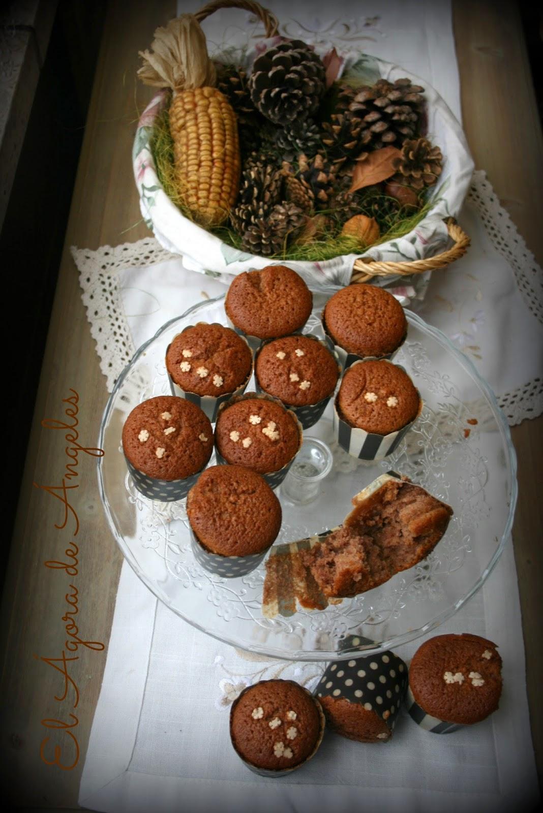 Magdalenas de cacao, crema de castañas, desayunos, meriendas