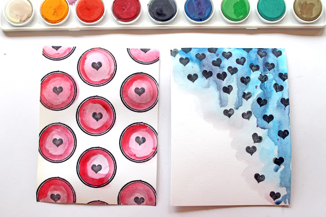 Stamped, Watercolor Valentine Cards by @punkprojects