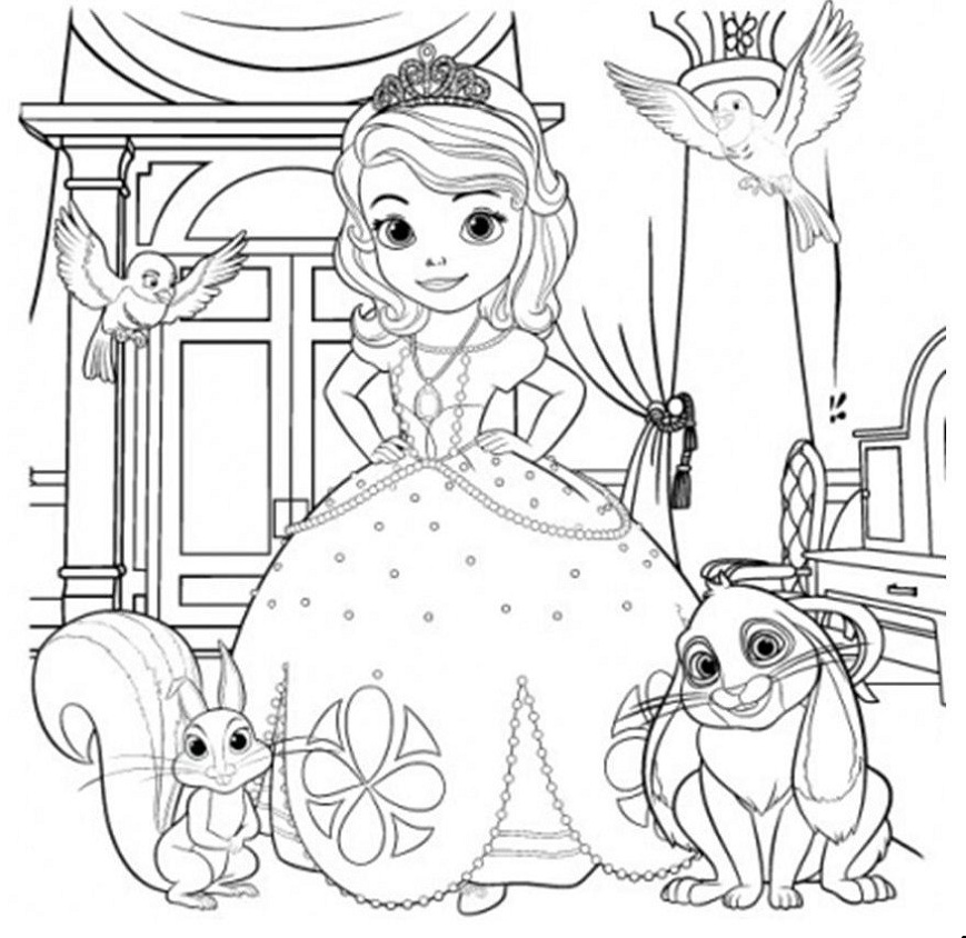 Princess Sofia and Pets Coloring Book