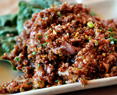 Red Quinoa Salad with Smoked Duck Breast, Dried Figs, Pistachios, and Pedro Ximenez Vinaigrette at Zuzu in Napa, CA - Photo by Taste As You Go