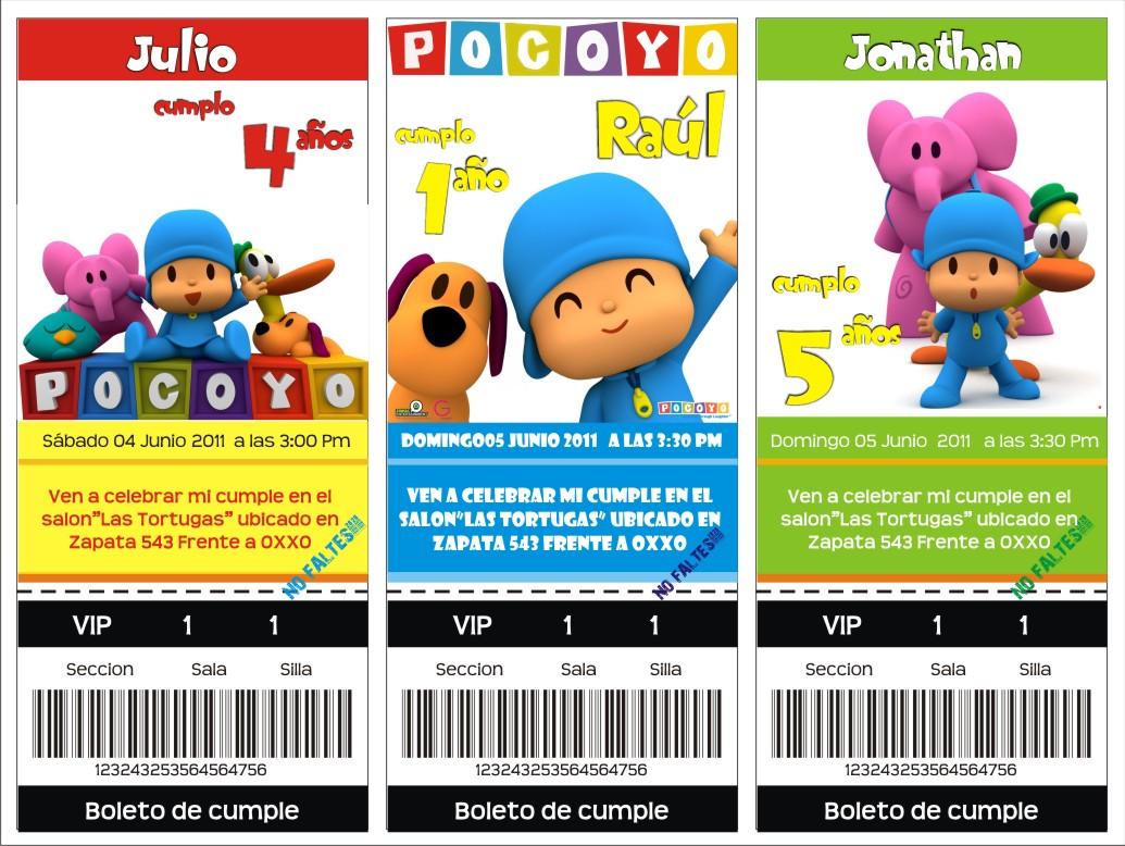Tarjetas de Invitaciones de Cumpleaños con diseño de Pocoyo - Artes ...