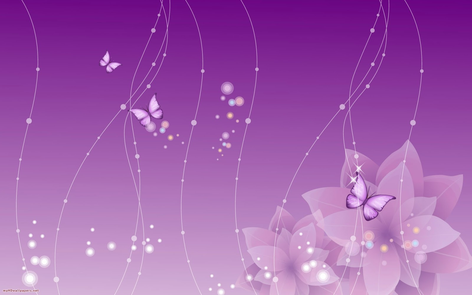 butterflies flowers purple desktop