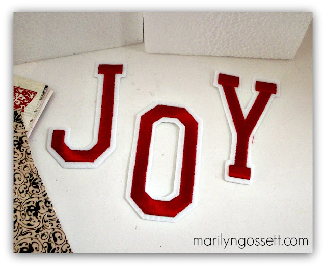 joy embroidered iron-on letters