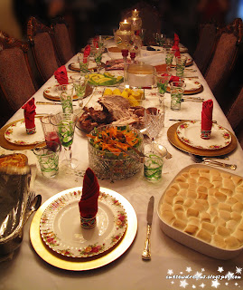 Christmas, christmas day, food,hunger,dinner, dinner table, salad, food, christmas, candy yams, salad, lasagna, turkey, ham, avocado, corn, oxtail,  macaroni and cheese, macaroni salad, napkins, fork, silver wear,candles, glasses, marshmallow,