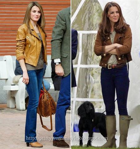 Летисия Ортис и Кейт Мидълтън с джинси и къжено яке