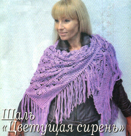 Вяжем шаль с кручком. Схема и фото. Knit crochet Shawl