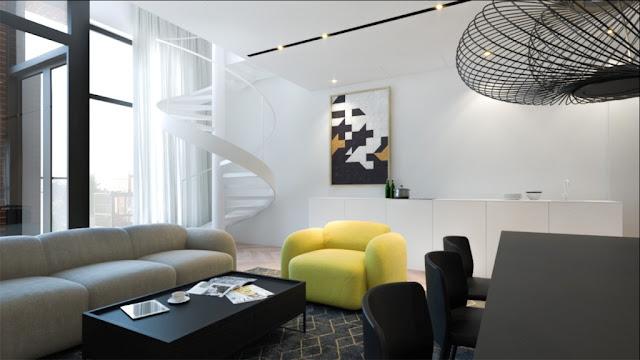 interior dengan aksen warna kuning 1