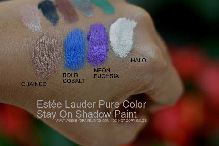 Estée Lauder Pure Color Stay On Shadow Paint Swatches Indian Beauty Blog New Makeup Cream Eyeshadows Chained Bold Cobalt Neon Fuchsia Halo
