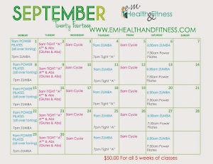 Sept class schedule