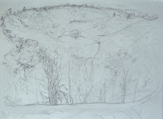 View from Gibbet Hill 1. distance - pencil on paper)