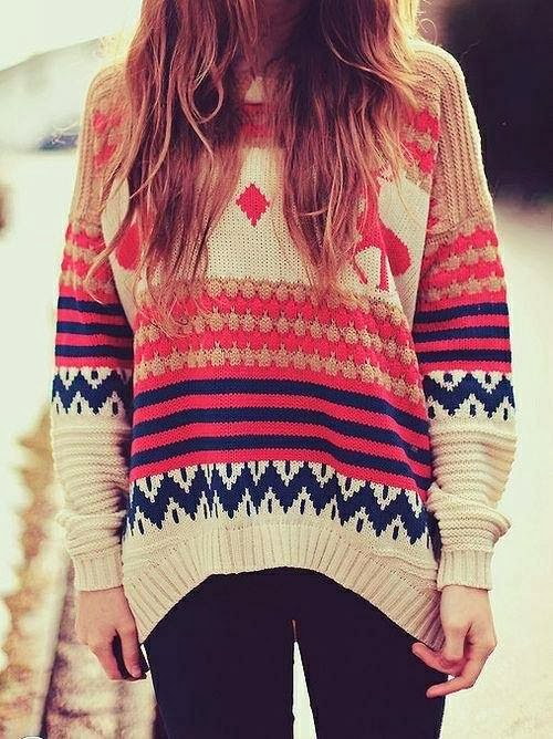Amazing Colorful Patterned Comfy Sweater with Black Tights, Street Style