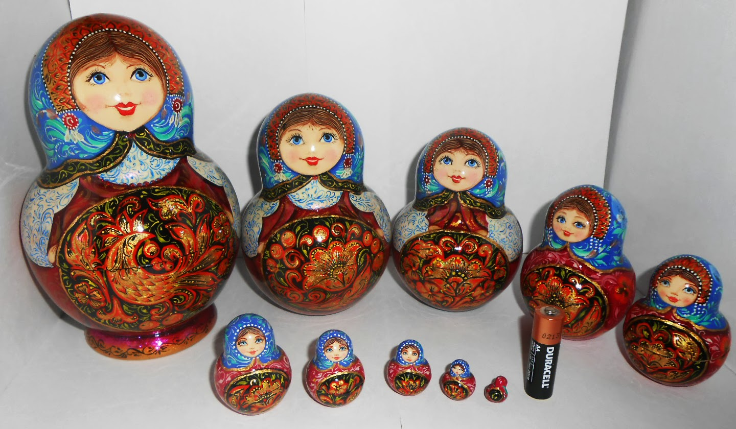 "Set of 10 puppets a tall matryoshka (nesting dolls) largest 7"" (18 cm). Traditionally Russian souvenir. A fun gift."