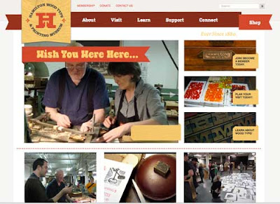 Home page snapshot of the Hamilton Wood Type Museum website