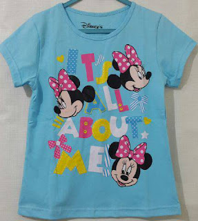 Baju Anak Karakter Mini Mouse Biru Size 1 - 6 Tahun