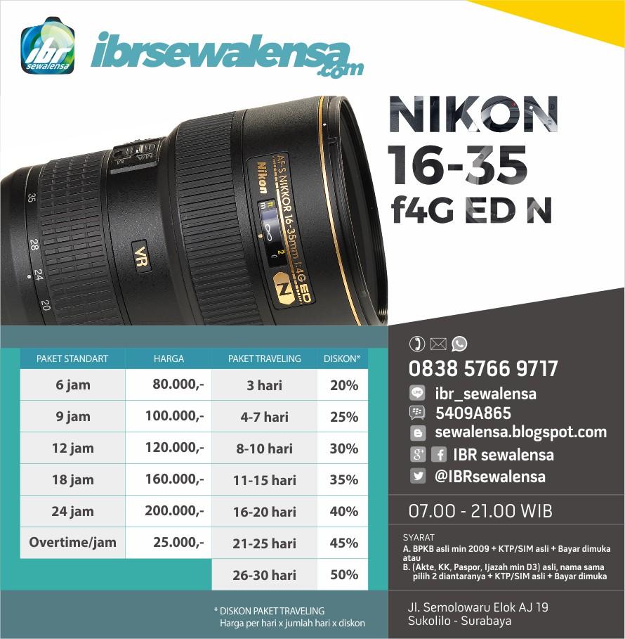 Nikon AF-S 16-35mm f4G ED N Harga Sewa Rental Lensa Kamera