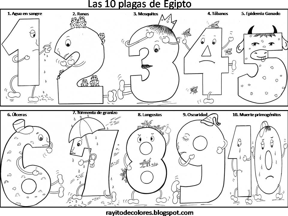 Dibujos de las plagas de Egipto para colorear