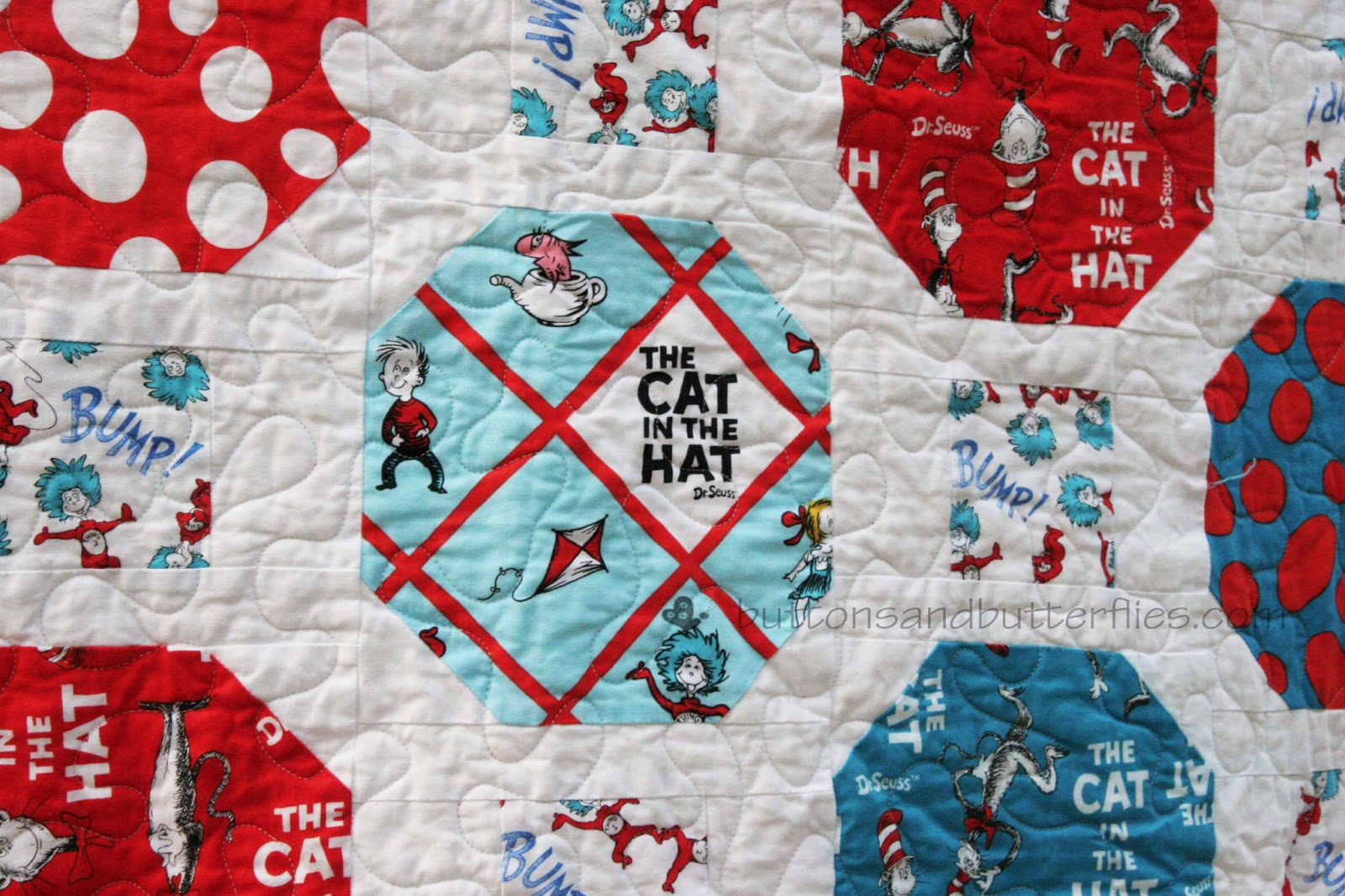 Cotton Dr Seuss The Cat in the Hat Celebration Allover Blue Cotton Fabric Print by the Yard by Robert Kaufman ade-10795-203