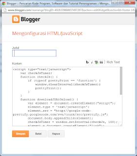 Menambahkan Gadget Blogspot