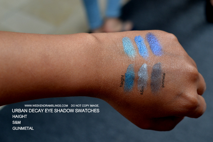 Urban Decay Makeup Eye Shadow Swatches Haight Gunmetal S&M Indian Beauty Blog
