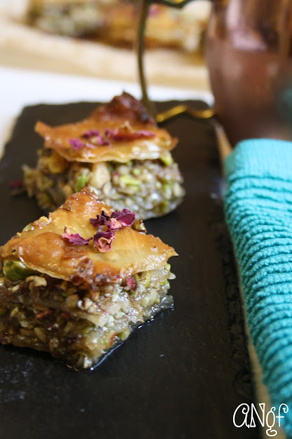 Squares of baklava with dried rose petals | Anyonita-nibbles.co.uk