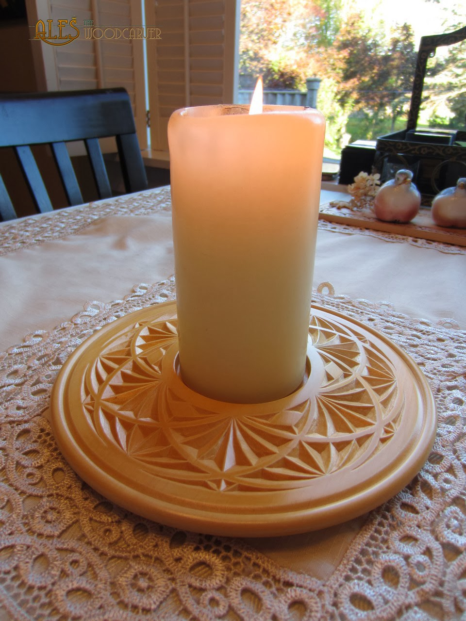 Ales the woodcarver candle holder chip carving