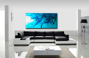 "Abstract Painting ""Blue Surf 1"" by Dora Woodrum"