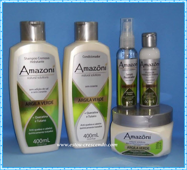 Resenha produtos para os cabelos de  Argila Verde da Amazoni Cosméticos