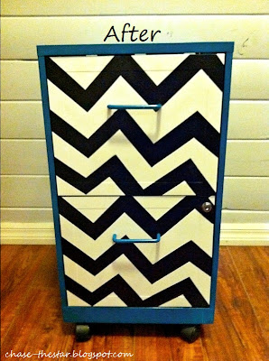 http://www.hellolifeonline.com, metal file, file cabinet, chevron, teal, black and white, makeover, diy