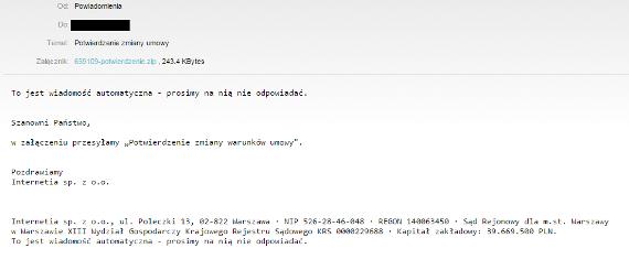 Fałszywy mail od Netii