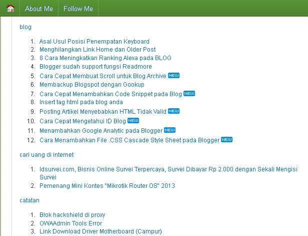 Tutorial Lengkap Membuat Daftar Isi Blog