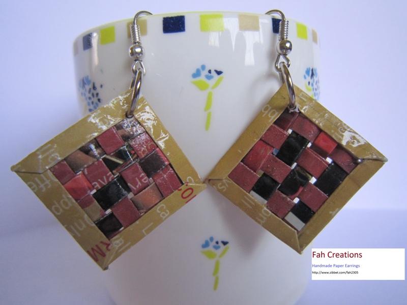 Fah creations handmade paper weaving earrings for Handmade paper creations
