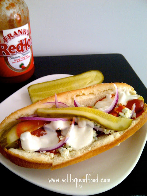 Buffalo Blue Cheese Hot Dogs by www.soliloquyoffood.com
