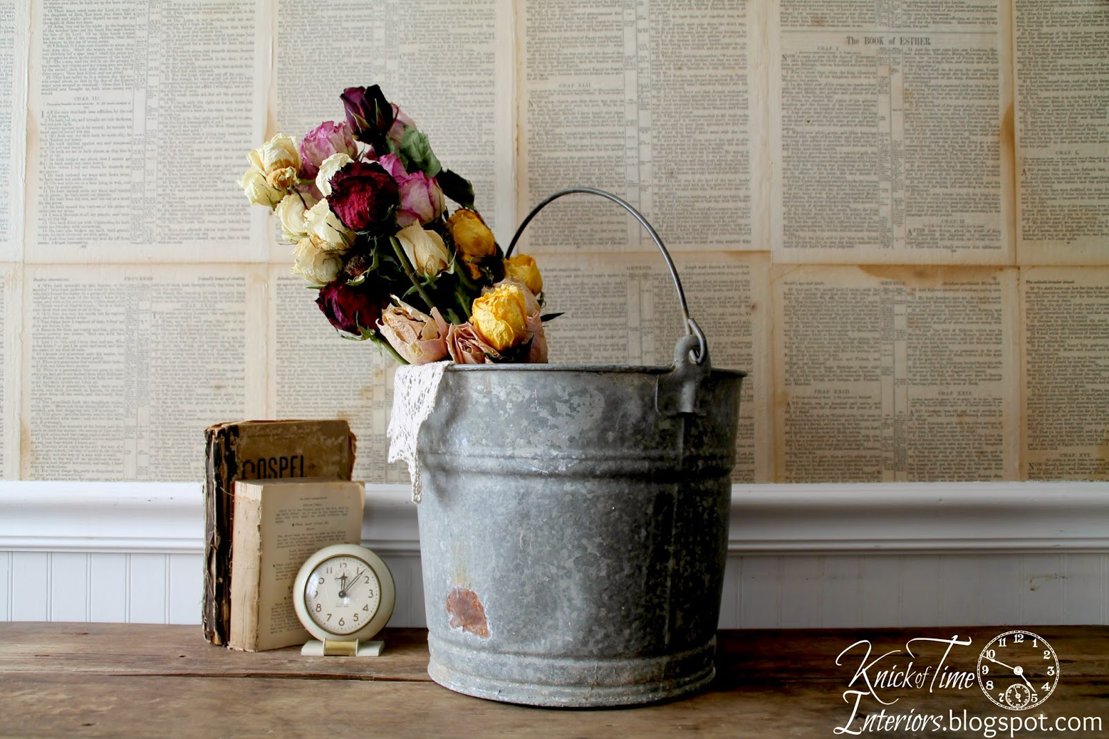 Farmhouse Vintage Galvanized Bucket Pail available from Knick of Time