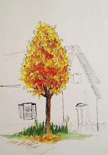herfstboom in waterverf