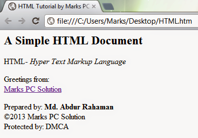 Basic HTML Document Example