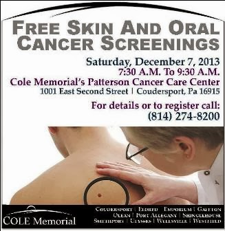 12-7 Free Skin & Oral Cancer Screenings