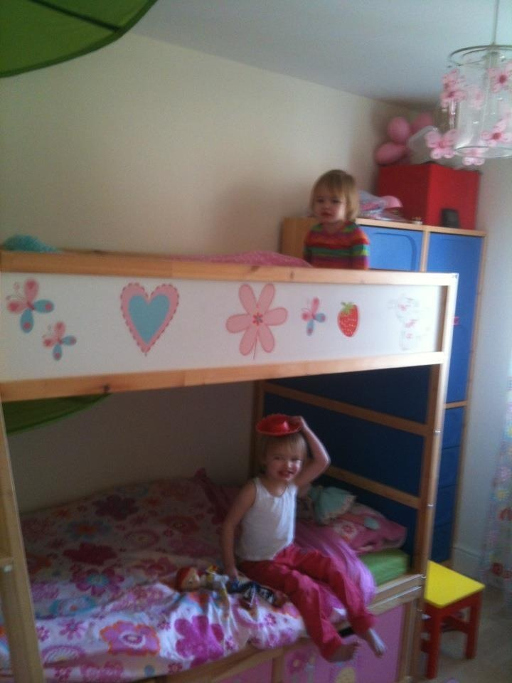 Stuva Loft Bed With  Drawers  Doors White Pink