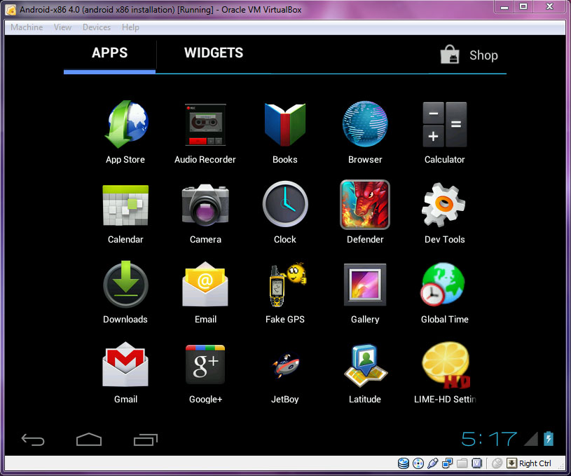 VirtualBox - Android-x86 Menu