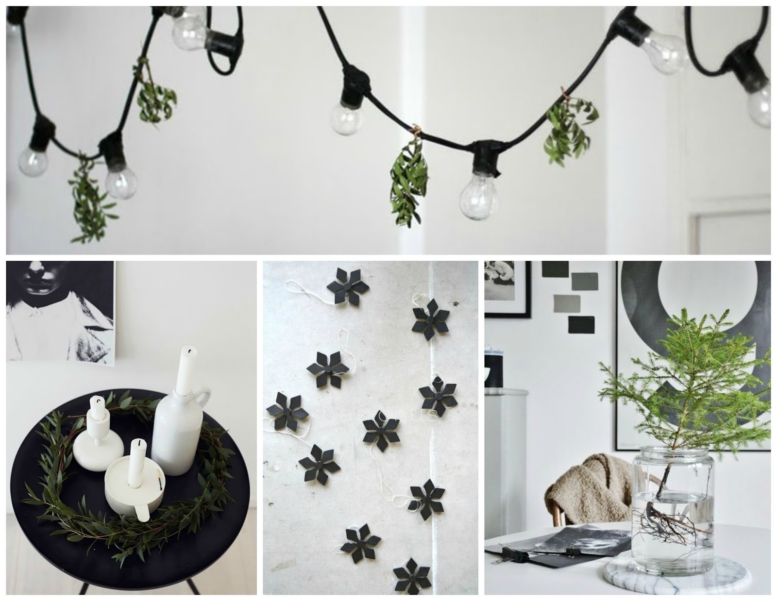 Zwart Wit Kerstdecoraties : Kerst moodboard #1: zwart wit en natuurlijk groen