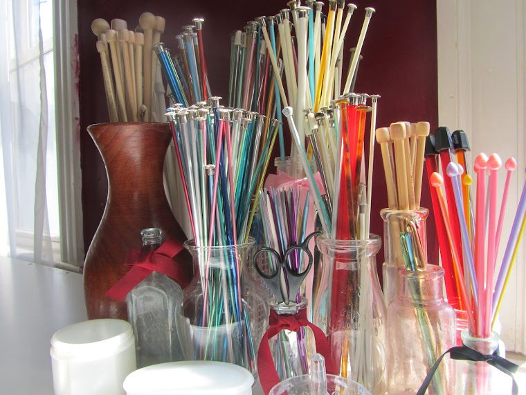 Vintage Knitting Needles and Antique Bottles