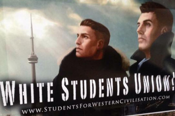 "This ""white student union"" poster is in the style of typical neo-Nazi art."
