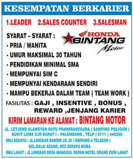 Lowongan Kerja Honda Bintang Motor Palembang