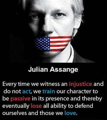 Every time we witness an injustice and do not act, we train our character to be passive in its presence and thereby eventually lose all ability to defend ourselves and those we love. -Julian Assange
