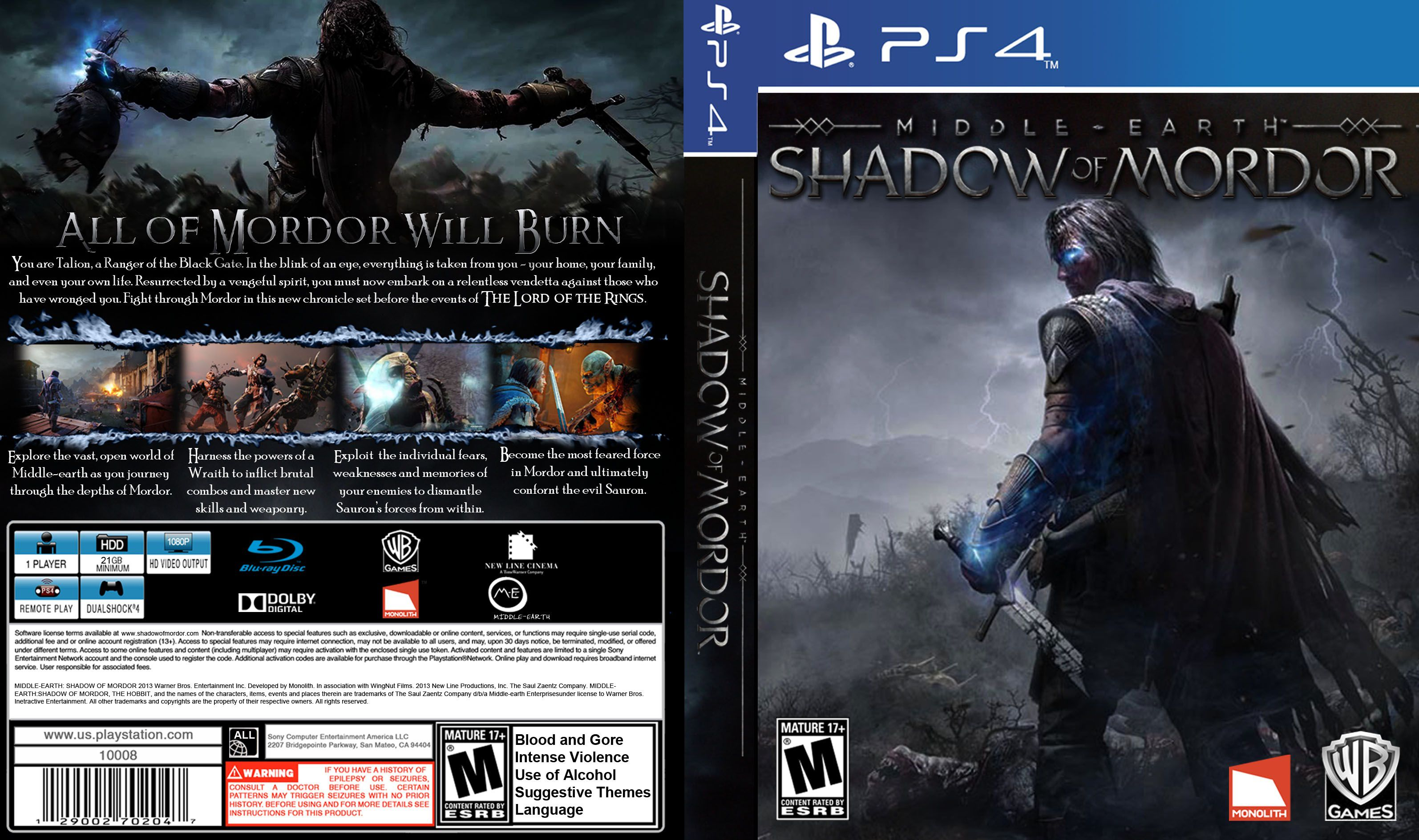 Capa Middle-Earth Shadow Of Mordor PS4