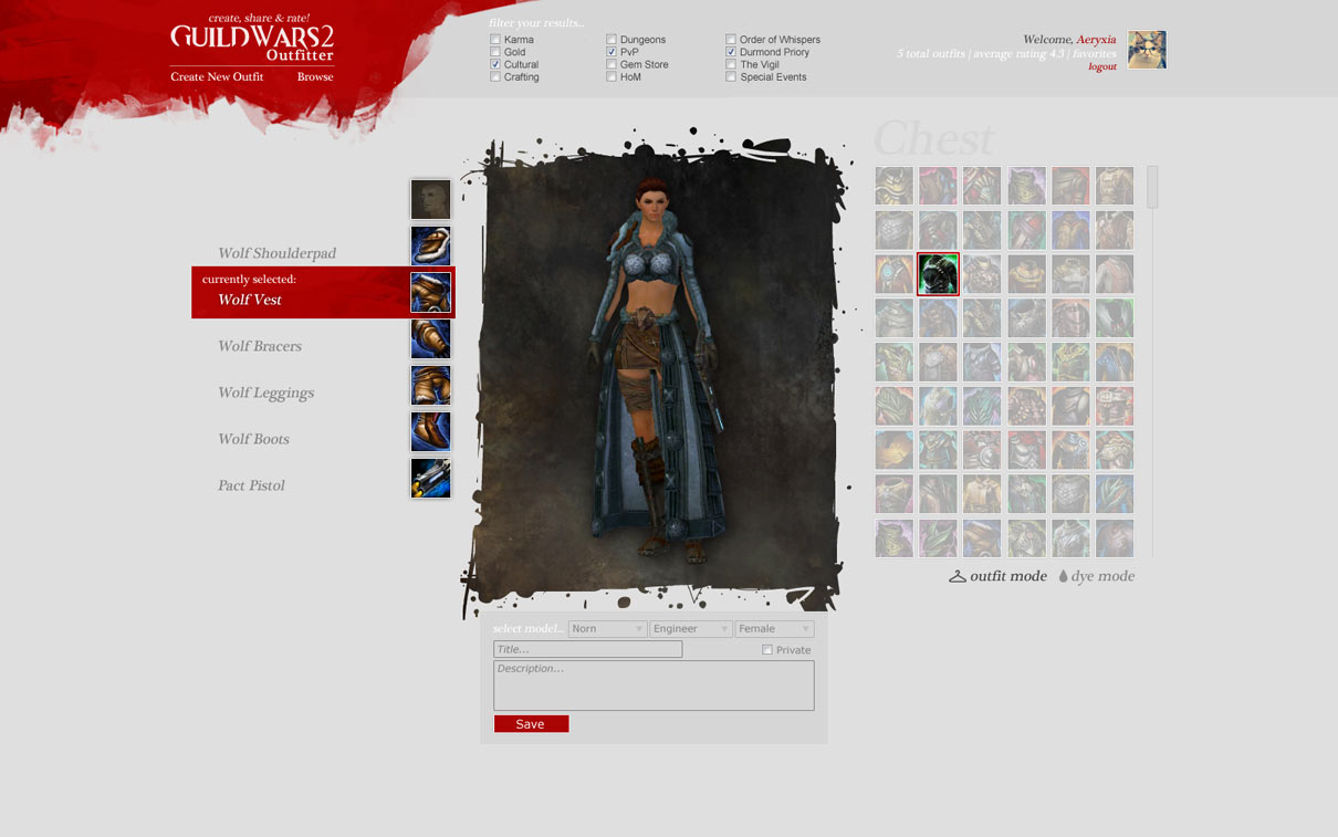 Guild Wars 2 Outfitter - Community Website Design Idea | Aery Plays