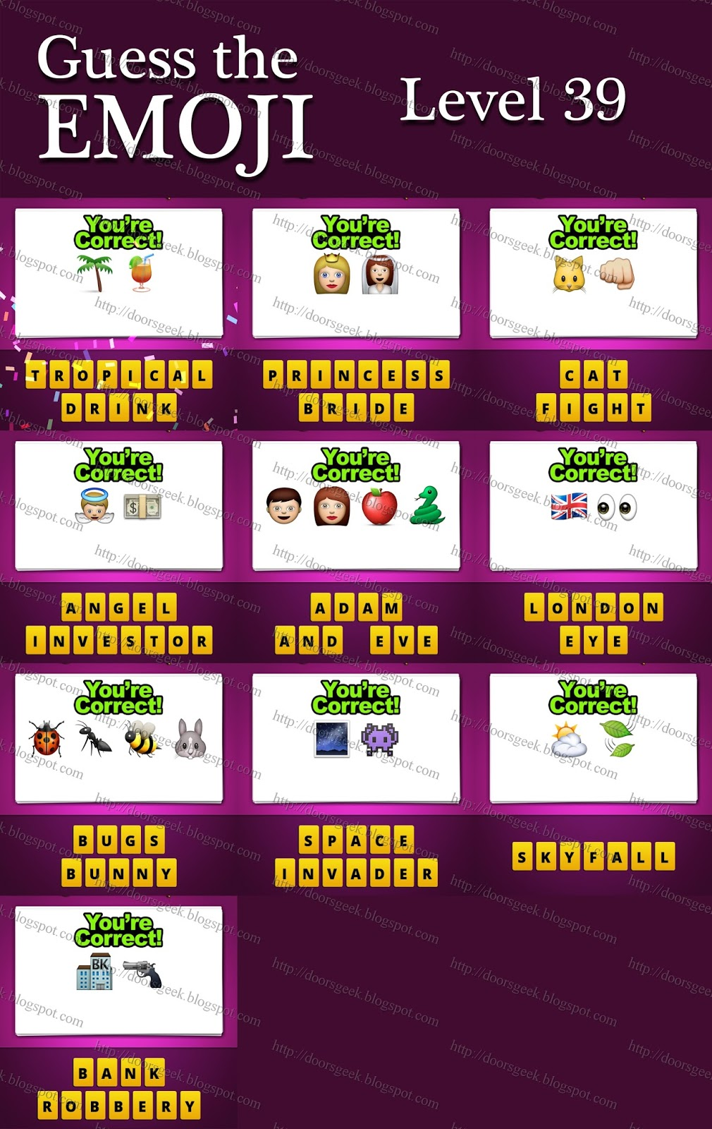 guess the emoji level 39 answers and cheats doors geek