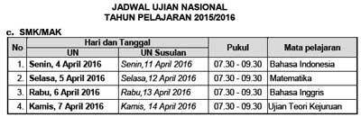 Jadwal UN Utama dan Susulan jenjang SMK/MAK  tahun 2016