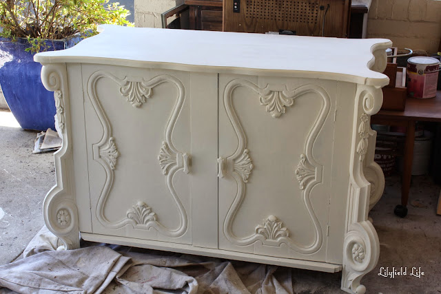 Painted white carved cabinet by Lilyfield Life