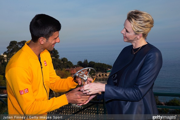 Laureus World Sportsman of the Year 2015 winner and Tennis player Novak Djokovic of Serbia receives his award from Princess Charlene of Monaco at the Monte-Carlo Sporting Club on April 14, 2015 in Monte-Carlo, Monaco