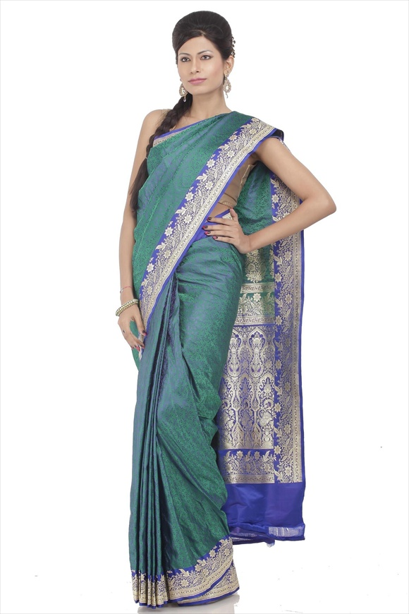 Dark Blue Satin Banarasi Saree